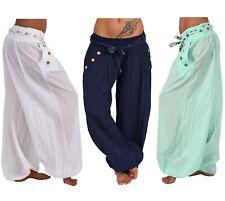 Sarouel bleu Smock en Coton imprimé brodé Hippie Yoga Zen Aladin Népal Taille M