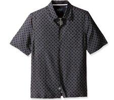 Nat Nast Short Sleeve Button Camp Shirt Men's Black Blue Pattern SILK + COTTON