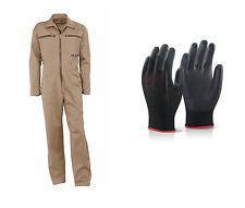 Arbeitsoverall beige khaki Kombi Overall Arbeitskombi Arbeitsanzug + Handschuhe