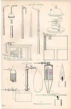 1868 PRINT PHYSICS BLOW PIPE BELLOWS APPARATUS