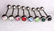 1 Crystal Gem Tongue Bar Straight Nipple ear Barbell Piercing Jewellery 18mm 14g