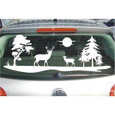 Landschaft AUFKLEBER Feld Wiese Bäume Hirsch Rehe Reh Sonne Baum Folie Sticker
