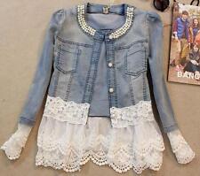 Women pearl Denim Jacket coat Lace Jeans Jackets Women denim Outwear