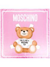 """Moschino X Jeremy Scott 100% Italian Silk 35"""" X 35"""" Pink Teddy Bear Scarf NWT!"""