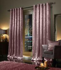 Blush Pink Crushed Velvet Curtains PAIR Ring Top Eyelet OR Pencil Pleat Tape Top