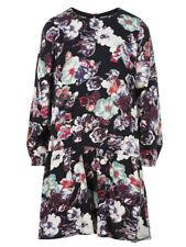 Creamie Girls Black Dress Flower Print Sizes 4-14 Long Sleeves NWT
