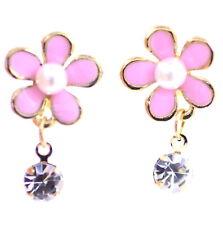 Rose émail prune fleur avec la pendaison clip cristal sur boucles d'oreilles