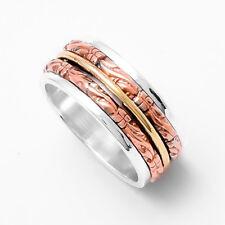 925 Sterling Silver Spinner Ring Wide Band Statement Ring Meditation Ring sr506