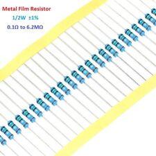 100pcs 1/2W 0.5W Metal Film Resistor 1% Tolerance 0.1 Ohm to 6.2M Ohm