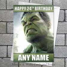 Carta di Compleanno Avengers: HULK. personalizzata, più Busta. MARVEL.
