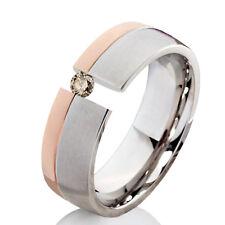 Verlobungsring Ehering mit einem 0,08ct. Diamant Trauring aus Edelstahl ELB18D