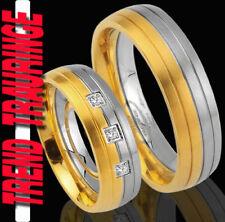 2 Trend Trauringe GOLD Platiert + GRAVUR Gratis Eheringe Partner Ringe * TE28-3