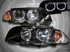99 00 01 BMW E46 3-SERIES 4 DOOR TWIN HALO HEADLIGHTS+CORNER LIGHTS BLACK AMBER