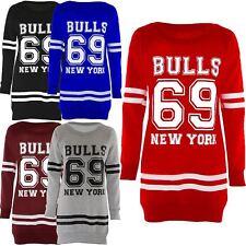 Womens Oversize 69 Bulls New York Varsity Print Fleece Sweater Jumpers Tops 8-22