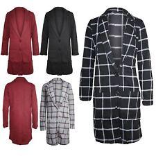 Womens Tartan Long Sleeves Blazer Ladies Boyfriend Front Long Coat Button Jacket