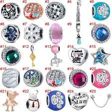 European Silver Charms Enamel Beads Gift CZ Pendant Fit 925 Sterling Bracelet