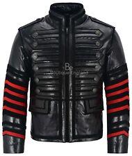 BATTALION Men's Military Leather Jacket Black Classic Studded Glaze Leather 4234