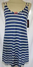 Blue White Striped Chemise Nightie Nightwear Lace Trim 8 10 12 14 16 18 20