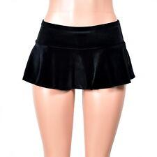 Black Velvet Micro Mini Skirt flared stretch plus size XS S M L XL 2XL 3XL goth