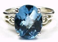 4.5 cts SWISS BLUE TOPAZ Sterling Silver Ring -Handmade • SR139