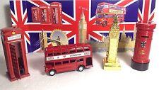 LONDON DIE CAST METAL PACK OF BUS,BIG BEN,LETTER BOX,LONDON BIDGE,PHONE BOX TOY