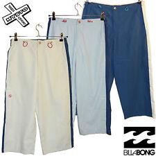 BILLABONG 'MAIO' WOMENS LONG SHORTS 3/4 TROUSERS CAPRI BLUE BEIGE 10 14 RRP £46