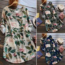 Womens Boho Casual Flower Printed Baggy Cotton Linen Dress Tops Shirt Oversized
