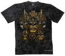 T shirt batik Black góticos Biker rythm & tatuaje motivo modelo Viking Brown