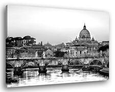 Quadro Moderno ROMA SKYLINE B/N Vari Formati Città Arredamento Stampa su Tela