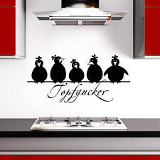 Wandtattoo Wandsticker Wandaufkleber Küche Koch Topfgucker + 5 lustigeVögel W862