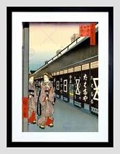 Cuadro Vintage xilografía japonesa geishas Negro Impresión Arte Enmarcado B12X11692