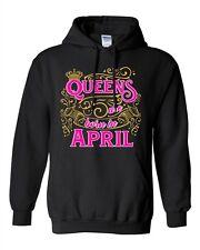 Queens Are Born In April Crown Birthday Funny DT Sweatshirt Hoodie