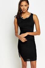 Para mujer vestido negro ceñido al cuerpo cuello incrustada