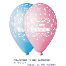 """PALLONCINI IL MIO BATTESIMO BIMBO-BIMBA 12"""" SCEGLI IL COLORE PARTY FESTA 10 pz"""