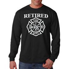 Men's Retired Firefighter Long Sleeve Black T Shirt Fire Fighter Hero Rescue Tee