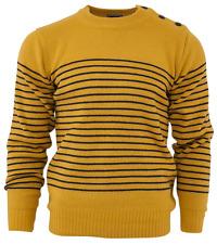 Relco hombre Mod Rayas NAVAL amarillo mostaza Guernsey Jersey de punto ancla