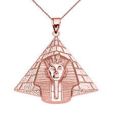 10k Rose Gold Egyptian Pyramid With King Tutankhamun Pendant Necklace