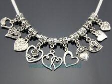 Tibetan Silver Mix Heart Dangle Charms Fit European Bracelet. Choose Qty ZY017