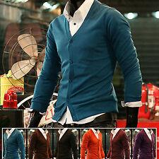 Mens Stylish Modern V-neck Solid Cardigan Sweater Knit Vest Jumper Jacket S/M