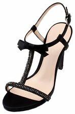 Pelle Moda Tabby Womens Black Silk Open Toe Slingback High Heel Sandals