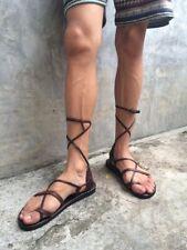 Gladiator Roman Boho Clog Moccasin Long Thong Tie Bone Flats Boot For Men Tomboy