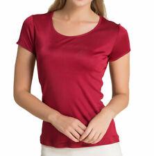 Pure soie tricoté femmes col rond manches courtes tee 36 40 44