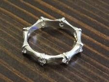 Nuevas señoras plata esterlina Cz Set Bambú completa la eternidad de 5 mm anillo anillo de tamaño del Reino Unido 925