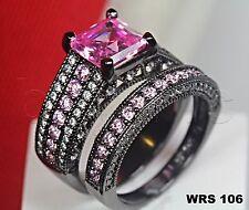 4.47Ct Asscher Cut Hot Pink Sapphire Black Rhodium Engagement Wedding Ring Set