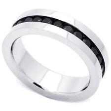 Men Women Fashion 6MM Stainless Steel Black CZ Channel Set Eternity Band Ring