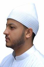 White Semi-rigid Soft Handcrafted Tall Naqshbandi Tariqah Sufi Muslim Kufi Hat