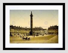 Vintage cityscape place vendome paris france noir encadré art imprimé B12X11757