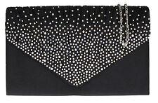 New Satin Pleated Diamante Clutch Bag Vintage Evening Bridal Bag Pleats Wedding