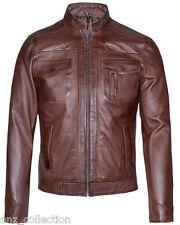 David Men's Brown Fashion Style Biker Motorcycle Real Italy Napa Leather Jacket