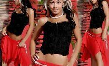 Sexy Miss Damen Bustier Stretch Corsage Spitze Perlen Zip S 34 M 36 L 38 schwarz